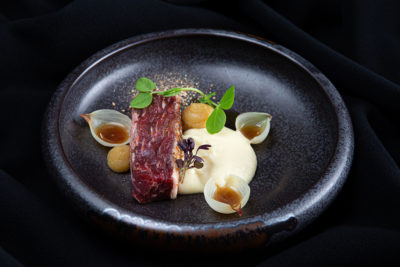 Bavette wagyu marinated with red chimicuri, quince couli, celery cream and dehydrated mushrooms || uma || Chef-Andreas Klaydianos